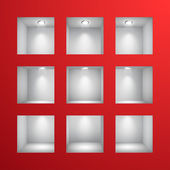 3d Empty shelves for exhibit in the wall — Stock Vector