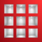 Duvardaki sergi için 3d boş rafları — Stok Vektör