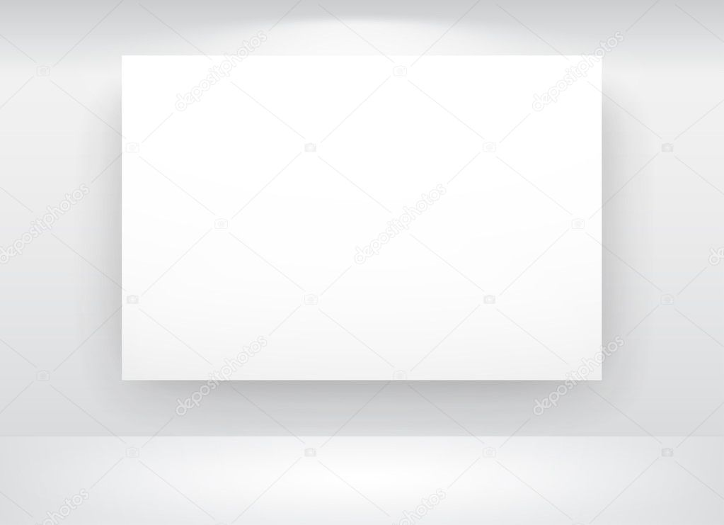 Gallery Interior with empty frames on wall — Stock Vector #5159381