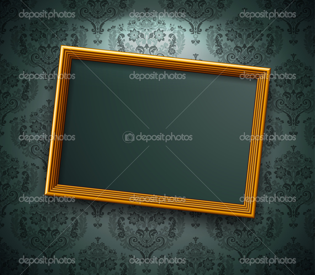 Golden frame on the wall. Vintage background — Stock Vector #5284868