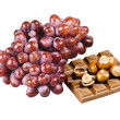 Chocolate, nuts and grapes — Foto Stock