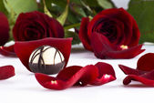 Chocolate and roses — Stock Photo