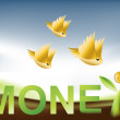 Royalty-Free Stock Vector Image: Golden Birds flying around Money Tree