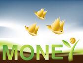Golden Birds flying around Money Tree — Wektor stockowy
