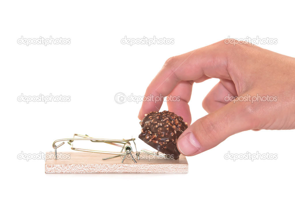  Mousetrap with sweet chocolate isolated on white background  Stock Photo #3945177