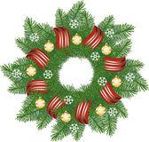 Christmas wreath with golden bells — Stock Vector