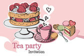 Tea party invitation — Stock Vector