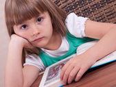 Portrait of thoughtful little girl — Stock Photo