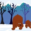 Bears in the woods — Stock Vector