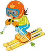 Child in ski — Stock Vector