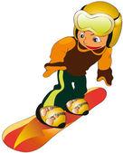 Child in snowboard — Stock Vector