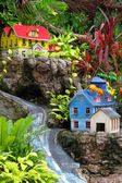 Toy city. Houses on a rock. — Stock Photo
