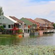 Houses on a lake — Stock Photo