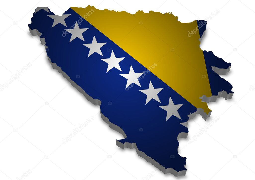 3D outline Bosnia Herzegowina of with flag — Stock Photo #5113877
