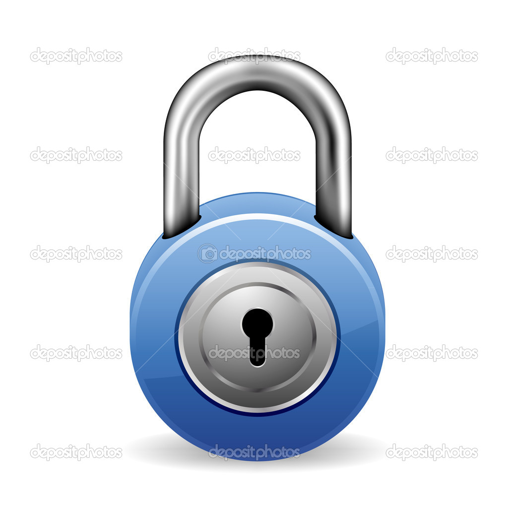 Illustration of a blue lock with keyhole — Stock Vector #5113559