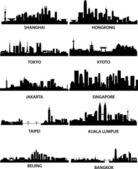 Horizontes de ciudades asiáticas — Vector de stock