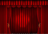Red curtains with spotlight — Stock Vector