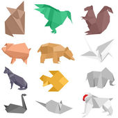 Origami Creatures — Stock Vector
