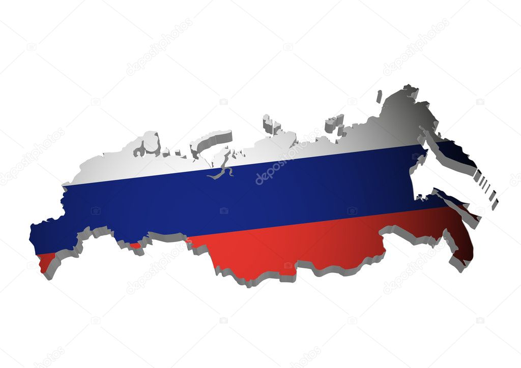 3D outline of Russia with flag — Stock Vector #5272754