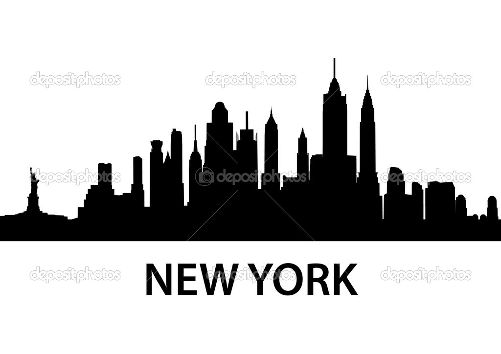 Detailed silhouette of New York City — ベクター素材ストック #5272778