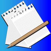 Lápiz y papel — Vector de stock