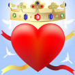 Heart in the crown — Stock Vector