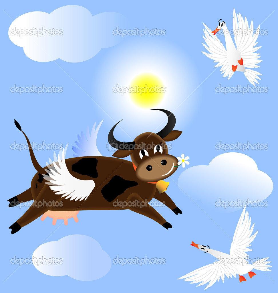 Flying cow — Stock Vector © dankalilly #4618941