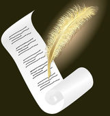 Golden pen and paper — Wektor stockowy
