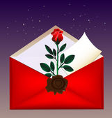 Envelope and rose — Stock Vector