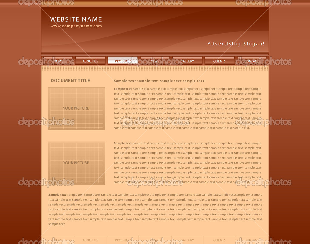 Vector web site template with orange background — Stock Vector #3973394