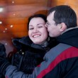 Couple have fun and kisses — Stock Photo