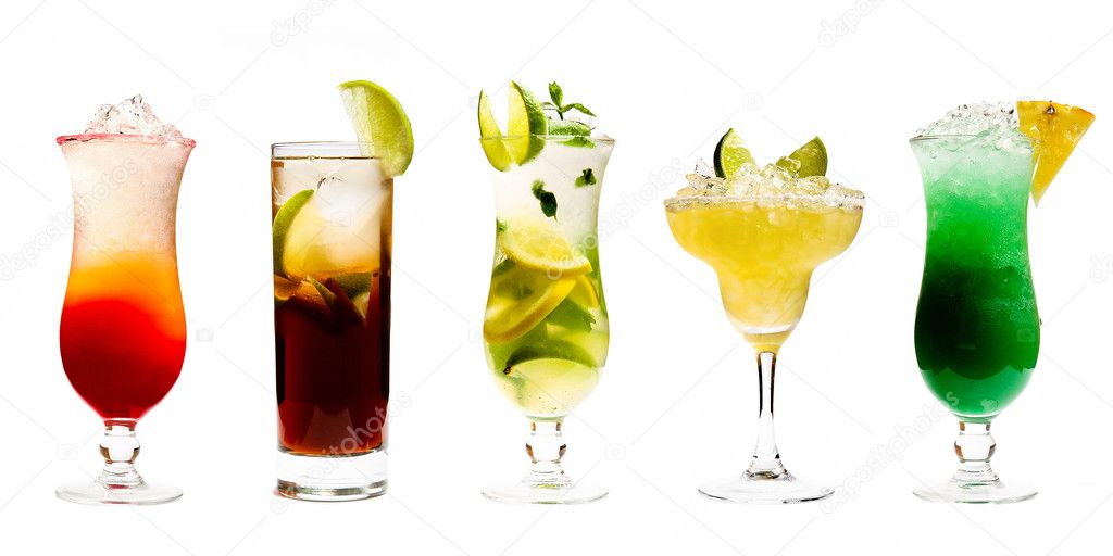 Photographs of several alcoholic drinks with fruit — Stock Photo #5220478