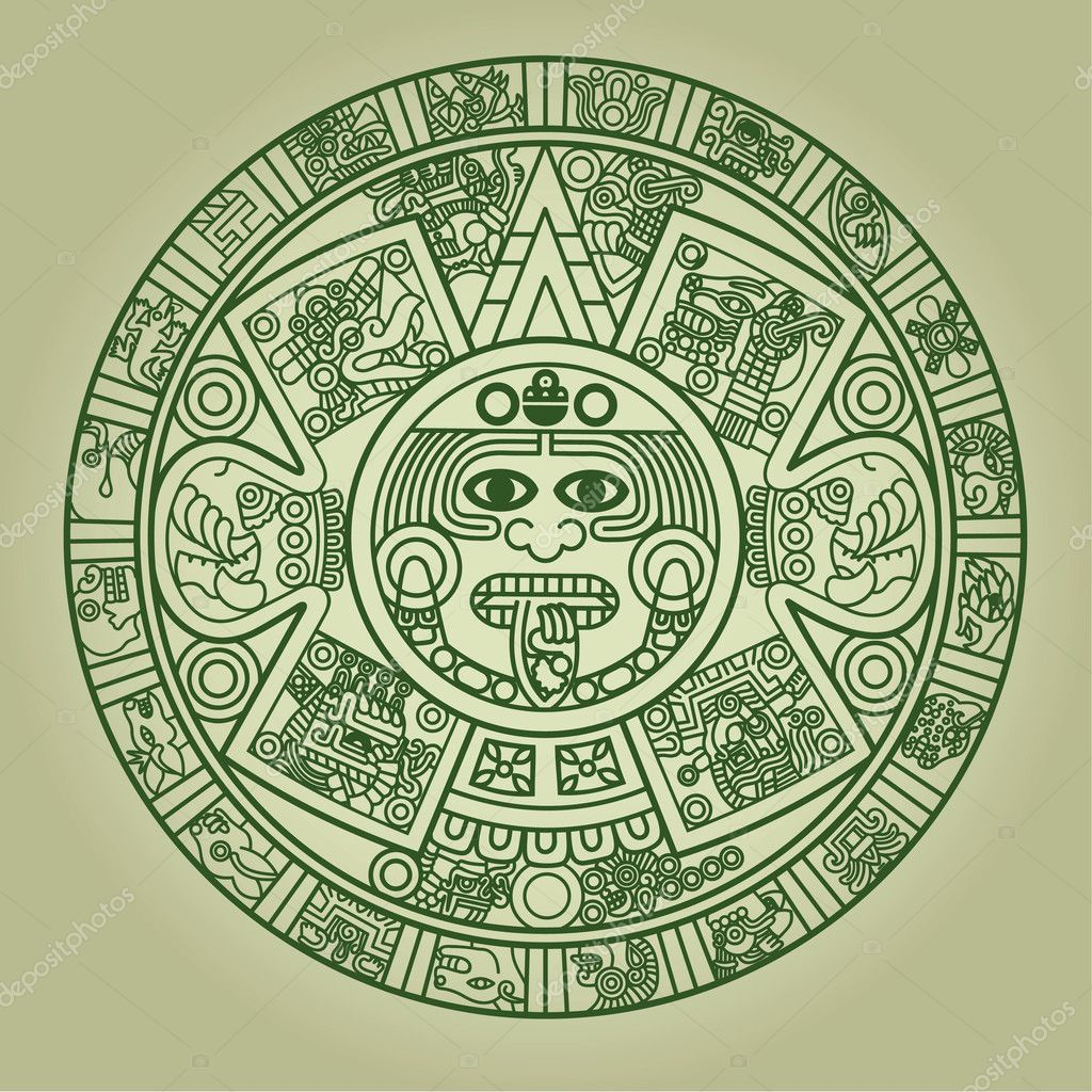Stylized Aztec Calendar in green color, vector illustration  Stock Vector #4007313