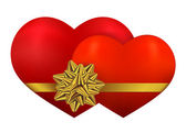 Two red heart with golden bow — Stock Vector