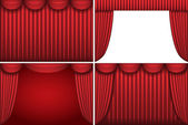 Four backgrounds with red theater curtains. — Stock Vector