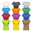 Black, white and colored women t-shirts, vector - Stock Vector