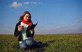 Girl reading a e-book — Stock Photo
