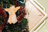 Angel hanging on Christmas tree — Stock Photo