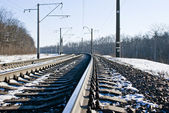 Railroad at winter time — Stock Photo