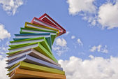 Stack of colored cover books — Stock Photo