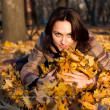 Royalty-Free Stock Photo: Beautiful young woman  in autumn leaves