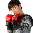 Beautiful girl in boxing gloves — Stock Photo