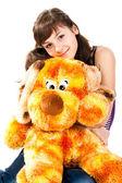 Krásná dívka s měkkou hračku — Stock fotografie