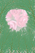 Green leaf isolated on pink rose background — Stock Photo