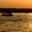 Sunset at Meklong river,Umphawah Thailand — Stock Photo