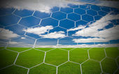 Soccer goal under the blue sky — Stock Photo