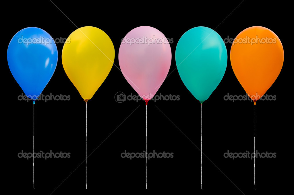 Colorful balloon on black background with path  Stock Photo #4636406