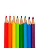 Uppsättning används färgpennor på vit bakgrund. isolerad på vit. — Stockfoto
