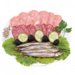 Meat and fish on plate — Stock Photo #4885878