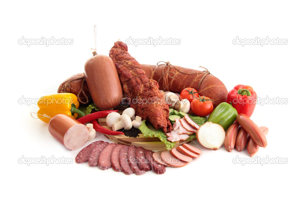 Various kinds of meat with vegetables isolated on white — Stock Photo #4885751